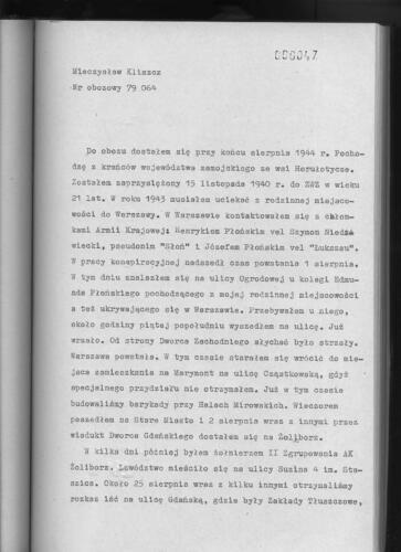 Relacja Mieczysław Kliszcz