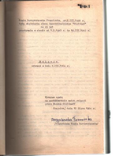 Relacja Franciszka Borzyszkowska