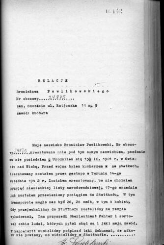 Relacja Bronisław Pawlikowski