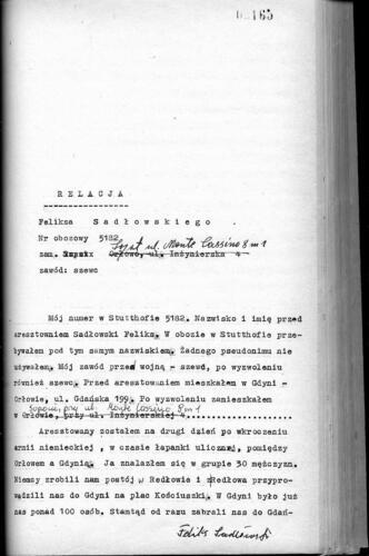 Relacja Feliks Sadłowski