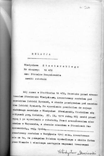 Relacja Władysław Stawiarski