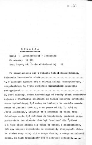 Relacja Zophia Lewandowska-Jackowiak